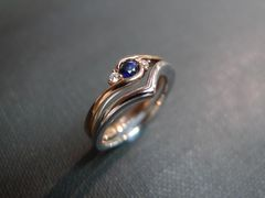 Set of TWO Diamond Blue Sapphire Engagement Ring and Diamond Wedding Band - product images 1 of 5