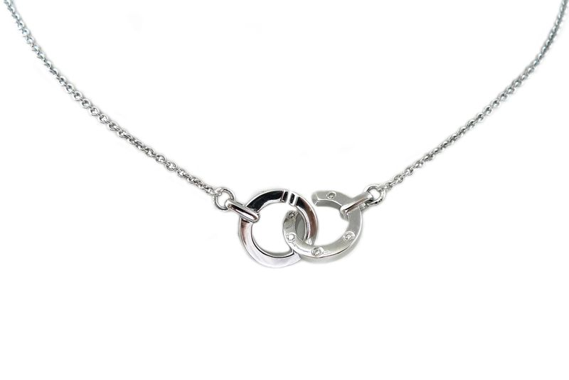 Removable Circle Pendant with Diamond in 18K White Gold - product images  of