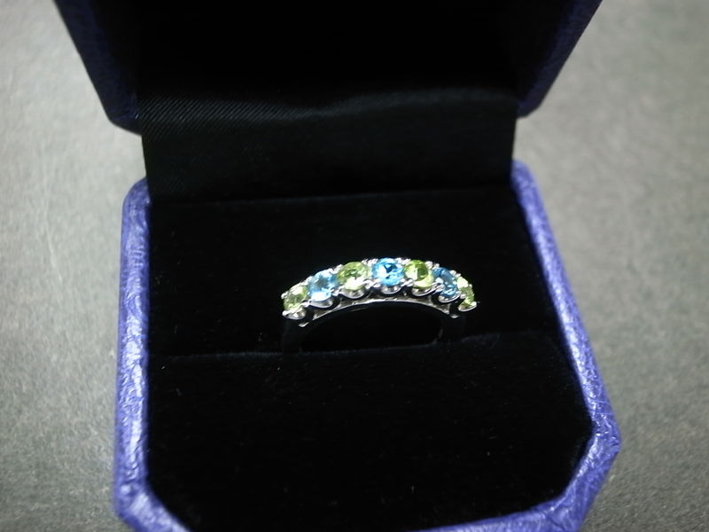 Blue Topaz and Peridot Wedding Ring - product image