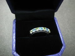 Blue Topaz and Peridot Wedding Ring - product images 7 of 7