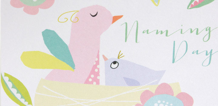 buy naming day cards online with birds and nest
