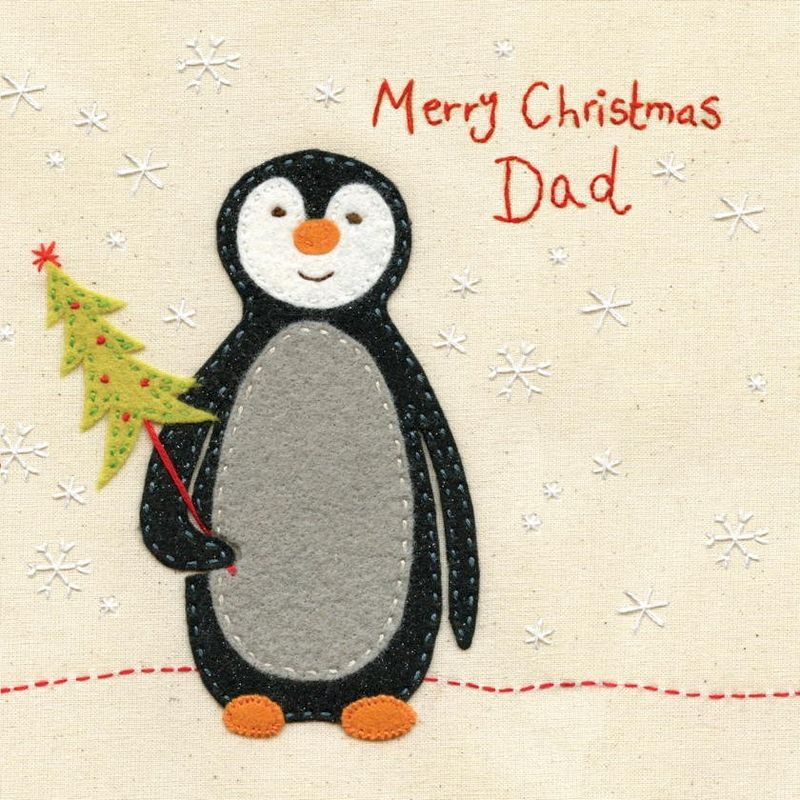Hand Finished Dad Penguin Christmas Card - Karenza Paperie