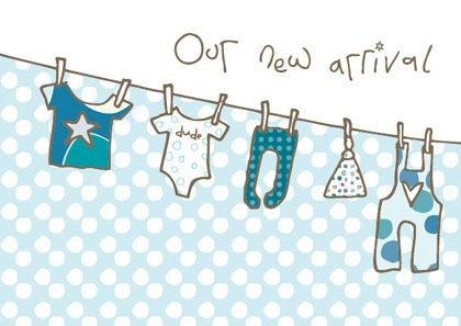Pack of 8 New Baby Boy Announcement Cards - product images