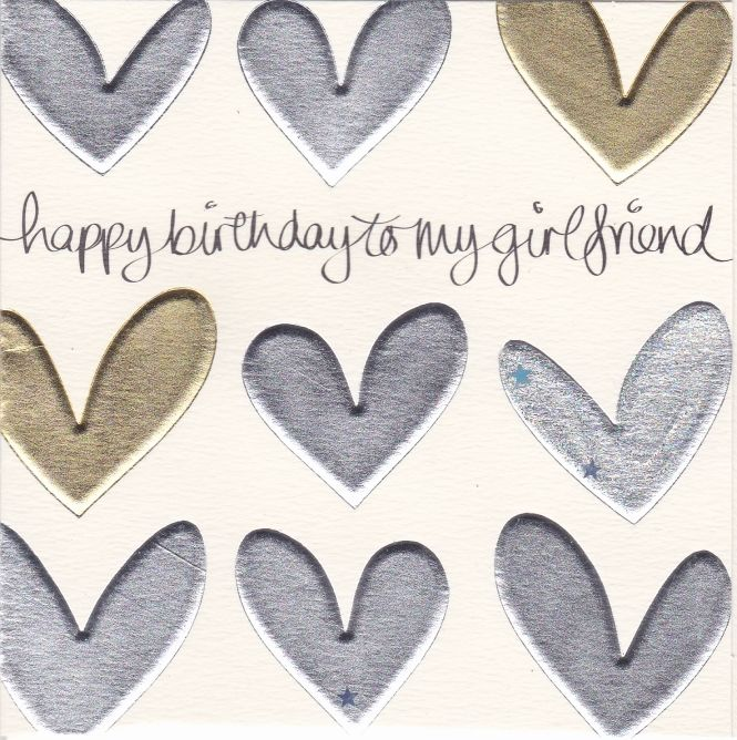 Gold And Silver Hearts Girlfriend Birthday Card Karenza Paperie