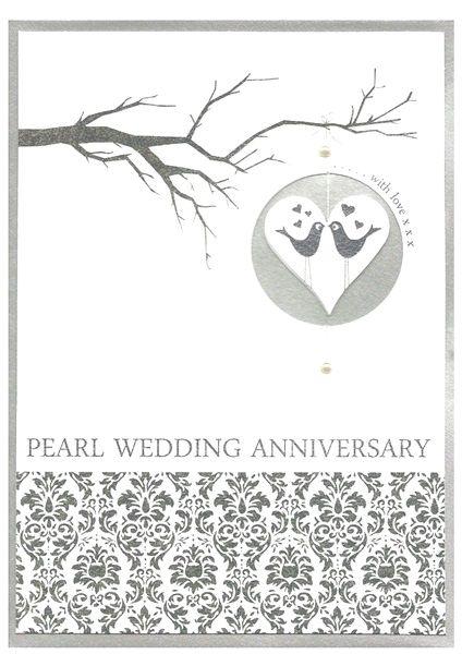 Love Birds Pearl Wedding Anniversary Card