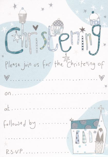 pack of 8 blue christening invitations karenza paperie