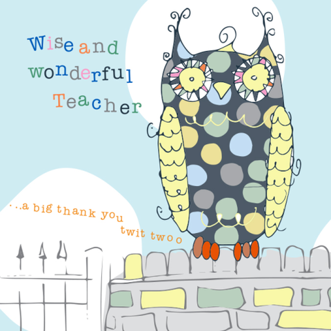 Owl,Wise,and,Wonderful,Teacher,Thank,You,Card,buy teacher thank you card online, thank you cards, teacher cards, owl cards, owl teacher thank you card