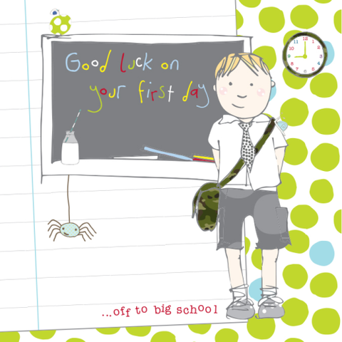 Litte,Boy,Good,Luck,At,School,Card,buy good luck at school card online, good luck on your first day at school card, little boy good luck on your 1st day at school card, first day at school cards, card for your 1st day at new school, big school