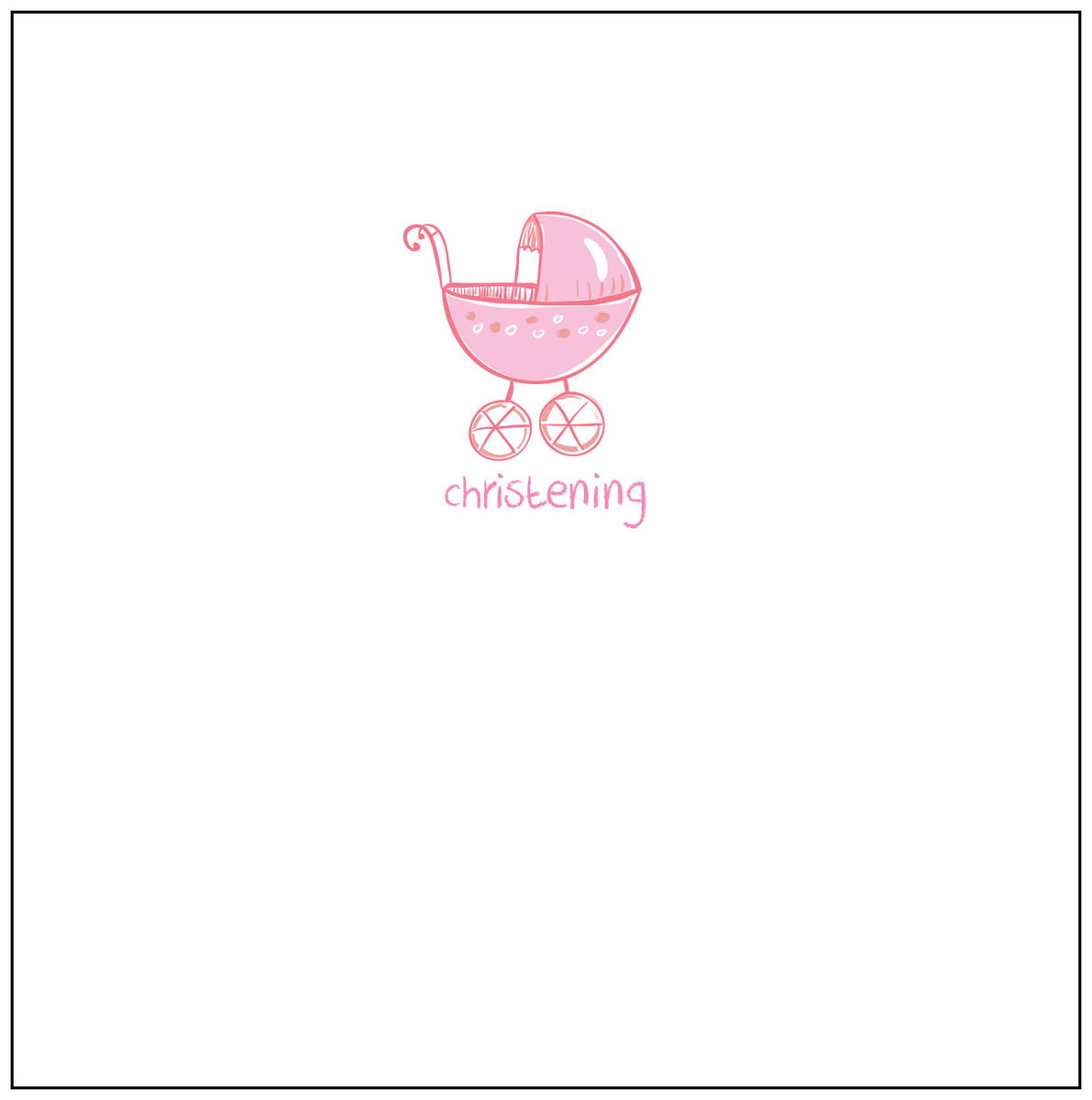 Pack Of 5 Christening Invitations Pink Pram Design Karenza Paperie