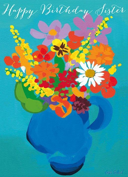 Flowers Sister Birthday Card
