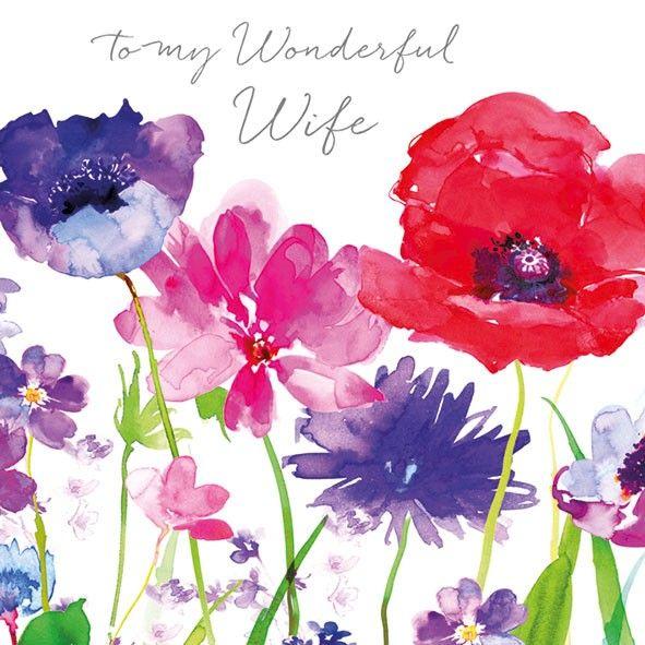 Floral Wonderful Wife Birthday Card Karenza Paperie