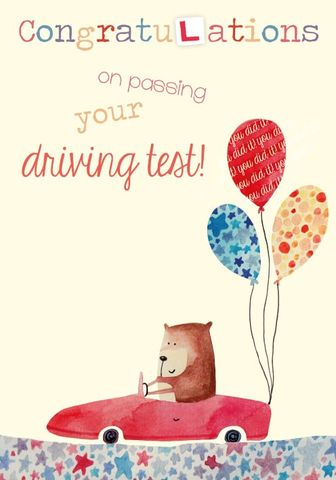 Bear,Congratulations,on,Passing,your,driving,test,card,buy driving test card online, passed your driving test card, new driver card, congratulations on passing your driving test card, congratulations on passing card, bear, car, driver, driving bear