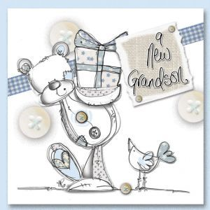 hand finished baby grandson card grandparents congratulations card
