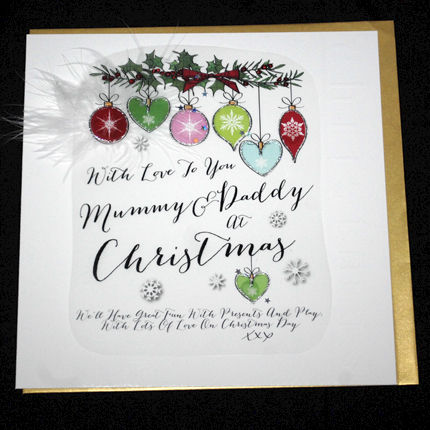 Handmade Mummy and Daddy Christmas Card - Large, Luxurious Christmas ...