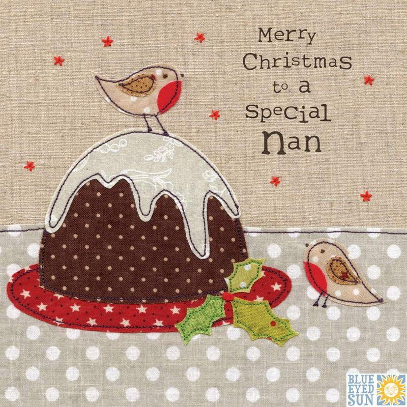 Special Nan Robins and Christmas Pudding Christmas Card - Karenza ...