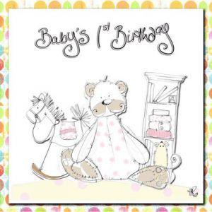 Baby Girls First Birthday Card