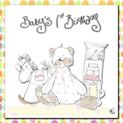 Baby Girls First Birthday Card