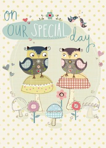 On,Our,Special,Day,Anniversary,Card,buy wife anniversary cards online, wonderful wife aniversary card, buy husband anniversary card, anniversary cards for husbands, hubby, on our anniversary card, cards for wedding anniversaries, owls anniversary card, owl, toadstools, birds, dotty, dots, s