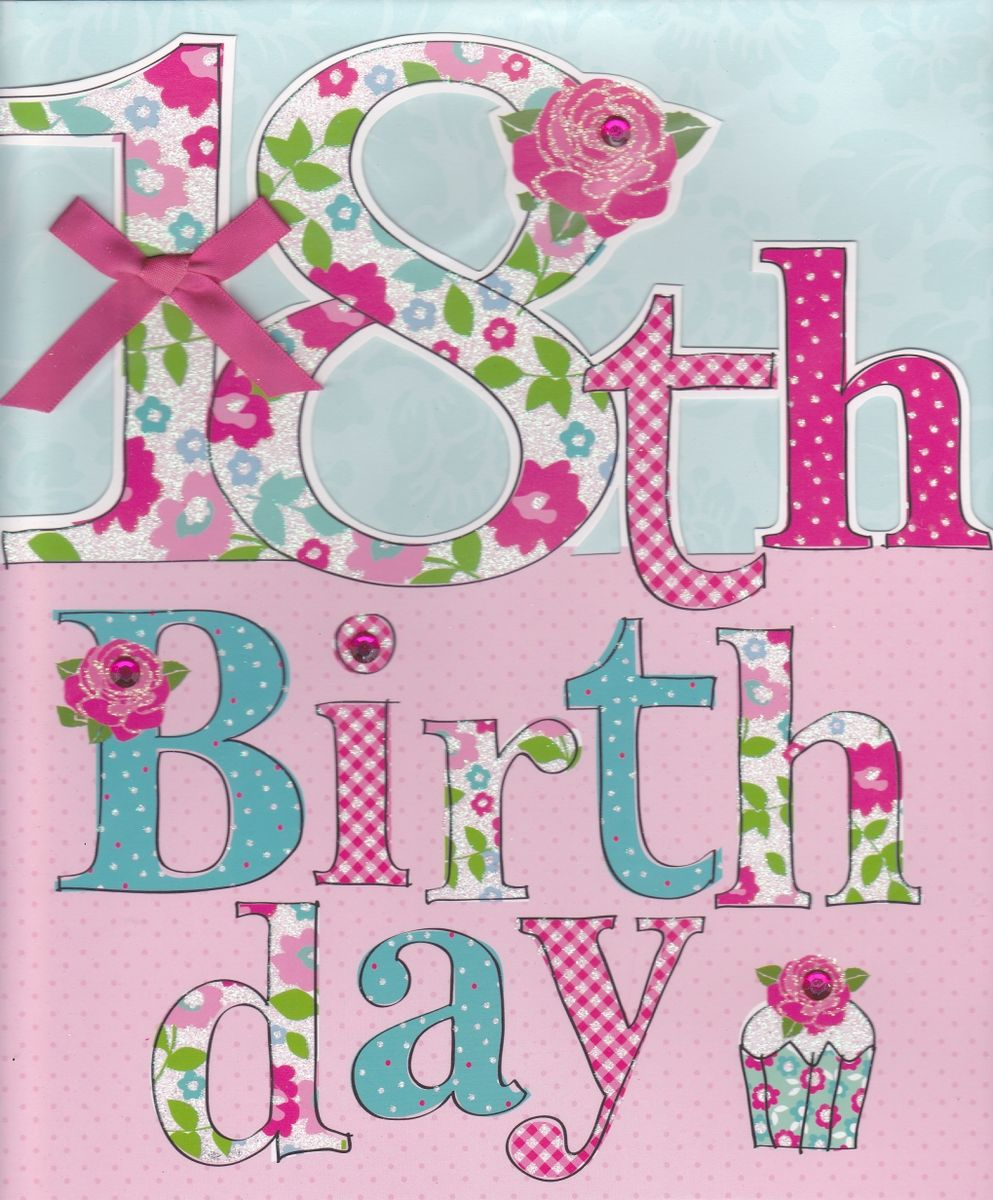 Hand Finished Floral 18th Birthday Card Large Luxury Birthday – 18th Birthday Cards for Girls