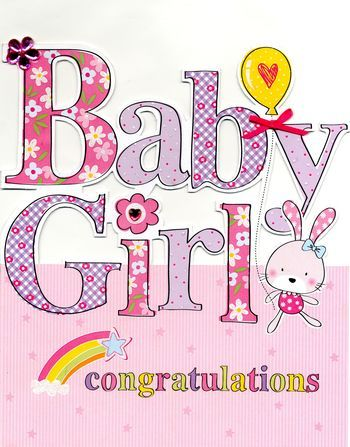hand finished baby girl card large luxury congratulations card product images of