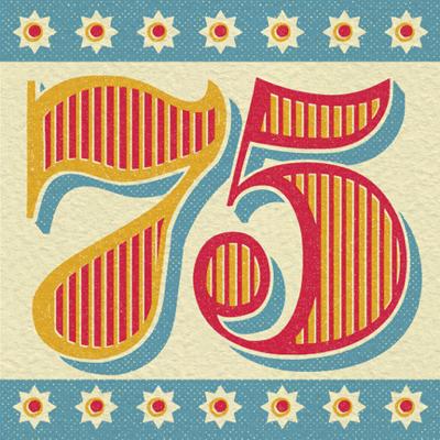 Retro 75th Birthday Card