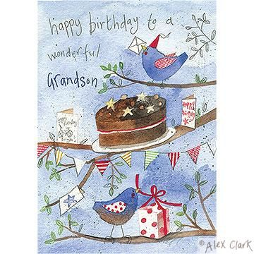 Wonderful grandson birds and cake birthday card karenza paperie wonderful grandson birds and cake birthday card product images bookmarktalkfo Gallery