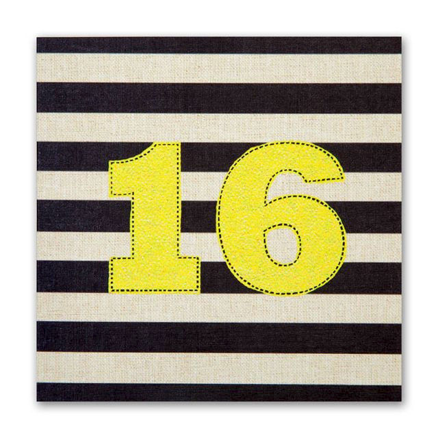 Striped 16th Birthday Card
