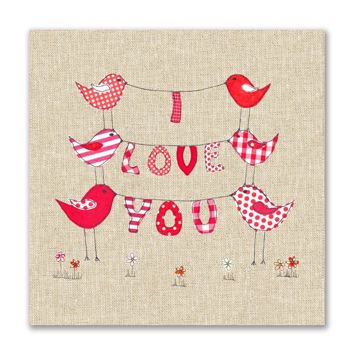 Hand Finished I Love You Birds Card - Karenza Paperie