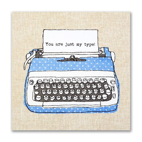 Hand,Finished,Typewriter,Love,Card,buy i love you valentine's day cards online, buy just my type valentines cards online, buy embroidered valentines card online, i love you valentines day card, typewriter valentines day card, typewriter love card, just my type anniversary card, i love you