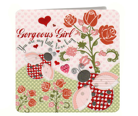 Ladybirds,Gorgeous,Girl,Valentine's,Day,Card,buy valentines day card online, buy card for valentines day online, ladybird valentines card, love bug valentines card, gorgeous girl valentines card, girlfriend valentines day card,