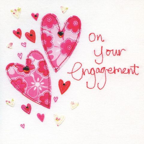 Hand,Finished,Hearts,On,Your,Engagement,Card,buy engagement card online, buy beautiful cards for engagements online, buy engagement card with hearts online, heart engagement card, you are engaged card, special couples engagement card,fabulous couple engagement card, on your engagement card, heart en