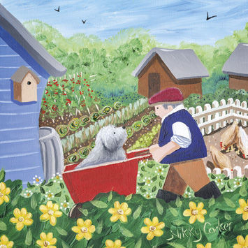 Dog,In,Wheelbarrow,Allotment,Blank,Greetings,Card,buy blank greetings cards online, buy allotment cards online, buy dog blank greetings cards online, buy blank greetings cards for him, hen card, dog card, shed card, cards with sheds,