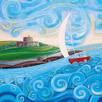 Boat,and,Swirly,Sea,Blank,Greetings,Card,buy blank greetings cards online, buy boat cards online, cards with boats, cards with yachts, yacht cards for him, seaside cards, castle cards, birthday cards for him, boat cards for him,
