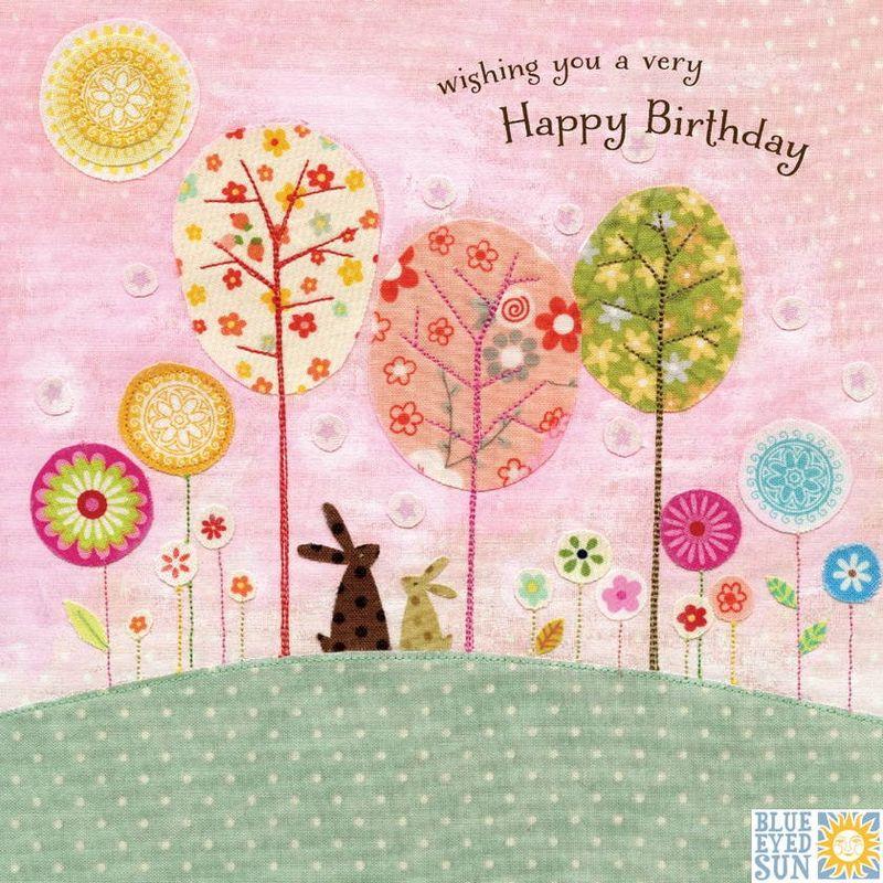 Bunny Rabbits Trees Birthday Card