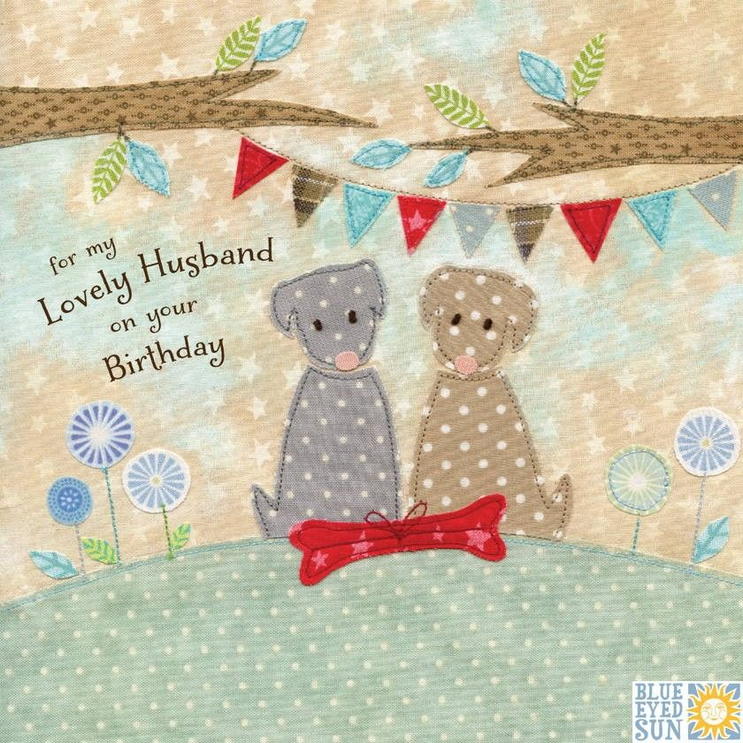 Dogs & Present Lovely Husband Birthday Card