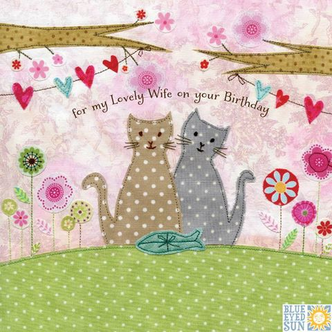 Cats,&,Present,Lovely,Wife,Birthday,Card,buy wife birthday cards online, buy birthday cards for wives, wife cards, cat cards for wives, cat birthday card for wife, wife birthday card with cats, animals, kitten, fish, present, bunting birthday cards for her