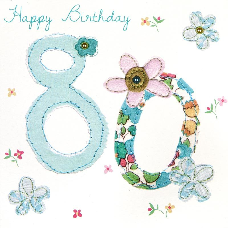 Flowers 80th Birthday Card Karenza Paperie – 80 Birthday Card