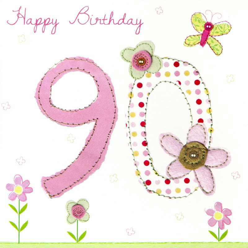 Butterfly And Flowers 90th Birthday Card