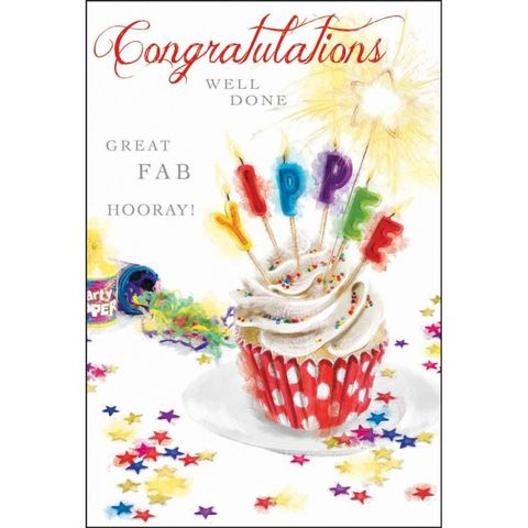 Cake,&,Candles,Congratulations,Card,buy congratulations cards online, buy you did it cards online, well done card, you're a star card, cards for congratulations, well done, cupckae, candles, yippee, hooray, sparkler, party poppers