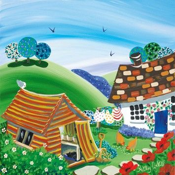 Cottage,And,Shed,Blank,Greetings,Card,buy new home cards online, cards for new homes, buy blank greetings cards online, cottage blank greetings card, blank greetings cards with cottages, retirement cards, shed, chickens, hens, cat, cards for retirement
