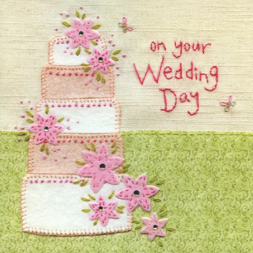 Hand Finished Wedding Cake Wedding Day Card