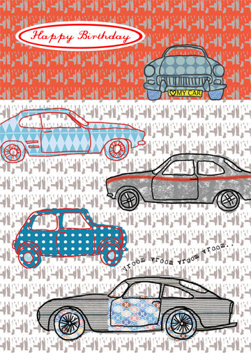Vroom Cars Birthday Card
