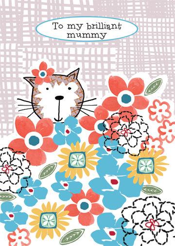 Cat Flowers Brilliant Mummy Birthday Card