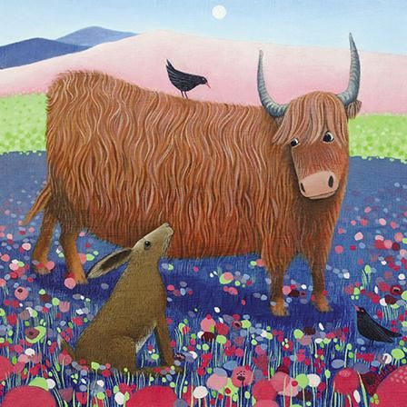 Highland,Cow,&,Hare,Blank,Greetings,Card,buy ailsa black greetings cards online, buy animal blank greetings cards online, buy highland cow blank greetings card online, buy hare greetings cards online, spring hare greetings cards, cards with animal, cards with hares, cards for spring, spring card
