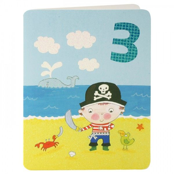 Pirate Age 3 Birthday Card Karenza Paperie