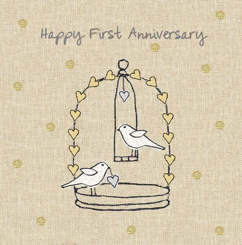 Anniversary Birds First Wedding Anniversary Card Karenza