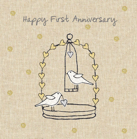 Anniversary,Birds,First,Wedding,Card,buy first wedding anniversary card online, buy wedding anniversary cards online, 1st wedding anniversary, paper anniversary, anniversary card, cards for anniversaries, wedding anniversary card