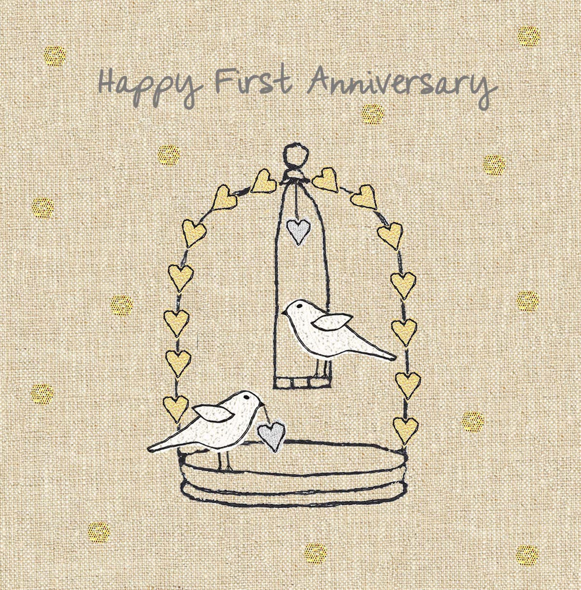 Anniversary Birds First Wedding Card