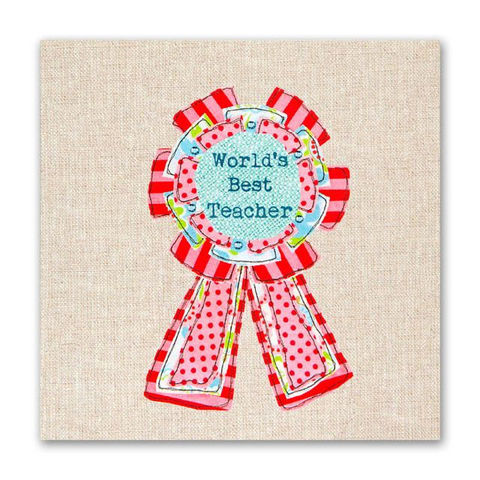 Hand,Finished,World's,Best,Teacher,Card,buy world's best teacher card online, buy thank you cards for teachers online, best teacher cards, teacher thank you cards, thank you cards for teachers, end of term cards, rosette teacher card, rosette teacher thank you card