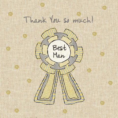 Hand,Finished,Best,Man,Rosette,Card,buy best man thank you cards online, wedding thank you cards for best man, cards for best men, rosette best man cards, thank you cards for best man, bridal party cards for best man, bridal party thank you cards,